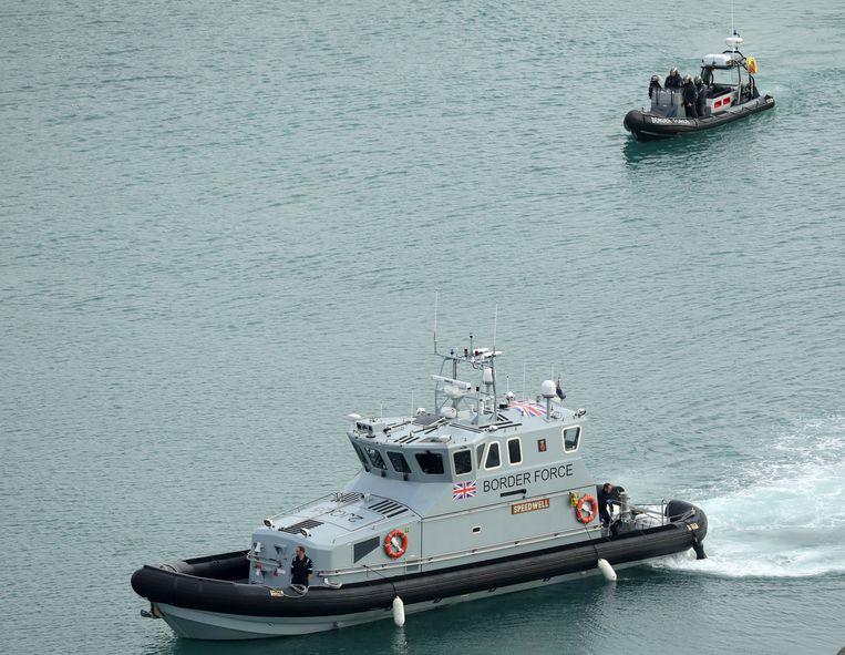 Een boot van de Britse douane bij Dover.  Beeld Getty Images