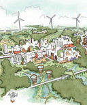 Schets van Eemvallei Stad, met vooral ook veel hoogbouw.