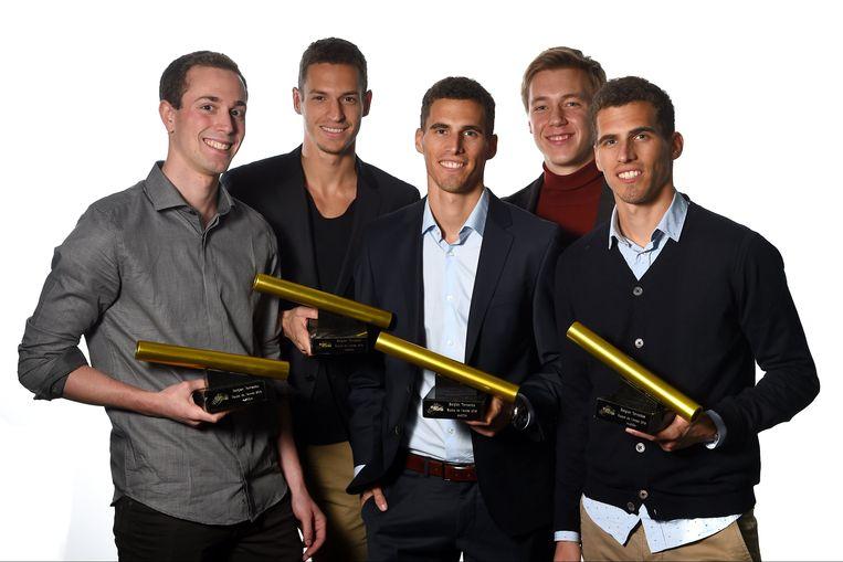 De aflossingsploeg op de 4x400 meter, met de broers Borlée, Julien Watrin en Robin Vanderbemden. Beeld PHOTO_NEWS