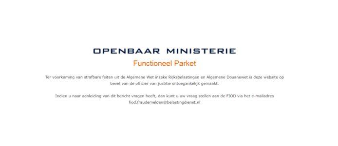 De waarschuwing van het Openbaar Ministerie op de website van Superaankoop