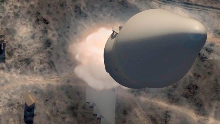 Een beeld uit een door het Kremlin verspreide animatie van de Avangard, het nieuwe hypersonische Russische wapen. Beeld EPA