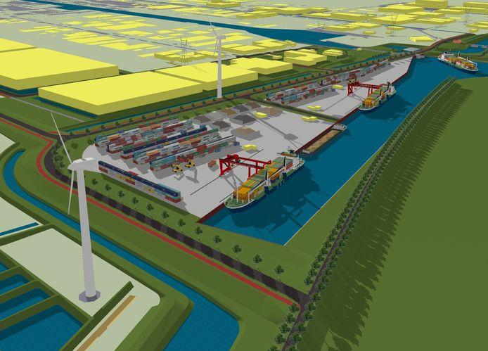 Een impressie van de toekomstige haven in Waalwijk.
