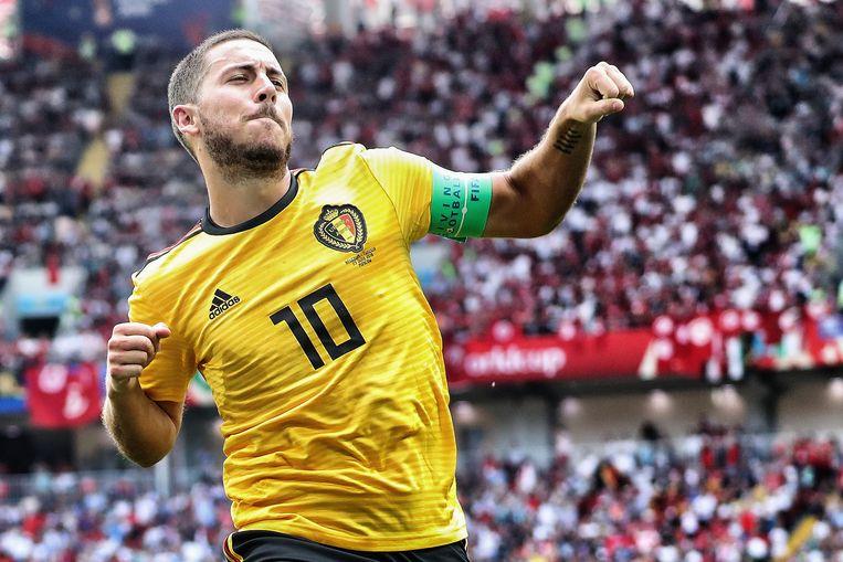 Eden Hazard viert zijn doelpunt. Beeld BELGA