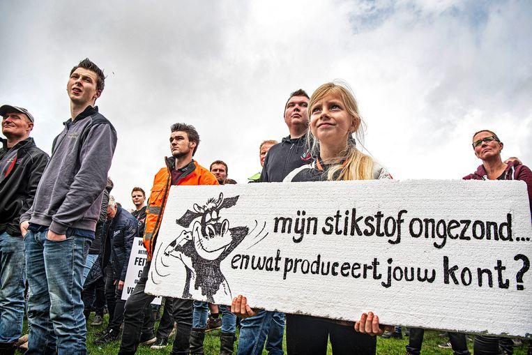 Boeren en hun kinderen demonstreerden dinsdag massaal op het Maliveld. Beeld Guus Dubbelman / de Volkskrant