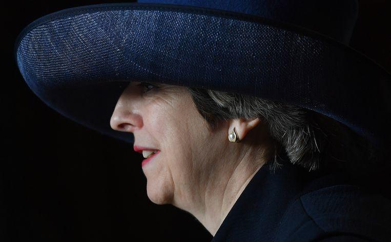 Klaar voor de brexit-onderhandeling. Brits premier Theresa May mag na de koninklijke goedkeuring van de Britse brexit-wet het 'scheidingsartikel' 50 uit het Verdrag van Lissabon inroepen.  Beeld Getty Images