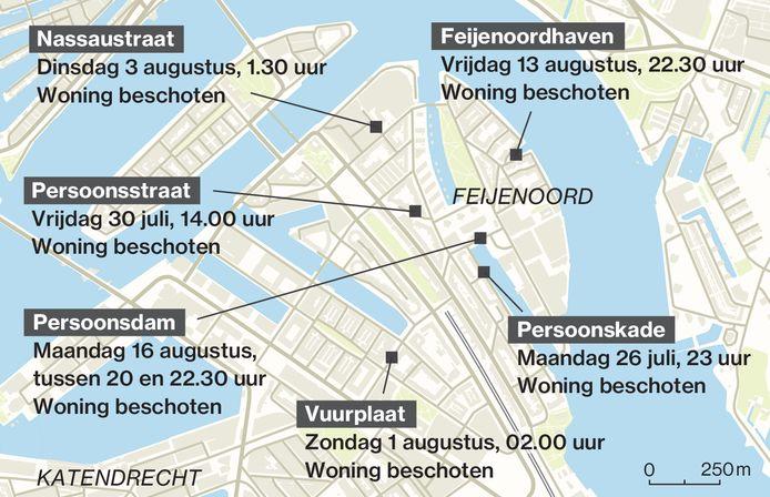In drie weken tijd werden in een klein gebied zes verschillende woningen beschoten.