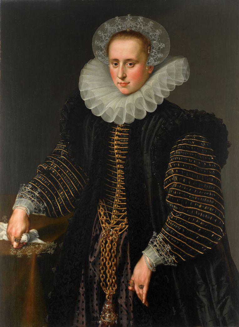 Portret van een vrouw, waarschijnlijk Maria Schuurman (1575-1621), anoniem (ca. 1599 - ca. 1600).  Beeld Rijksmuseum