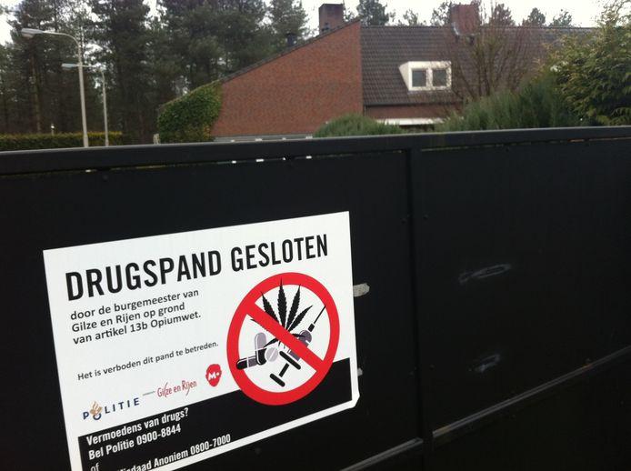 De sluiting van een woning vanwege de aanwezigheid van drugs.