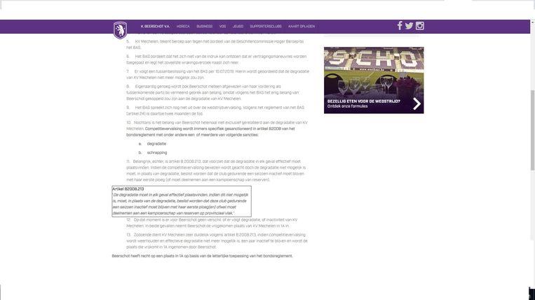 Beerschot maakt op zijn website gewag van het bewuste reglementspunt.
