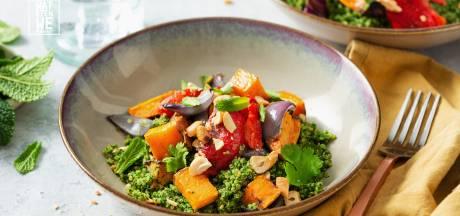 Wat Eten We Vandaag: Quinoa met spinazie, cashewnoten en gepofte paprika