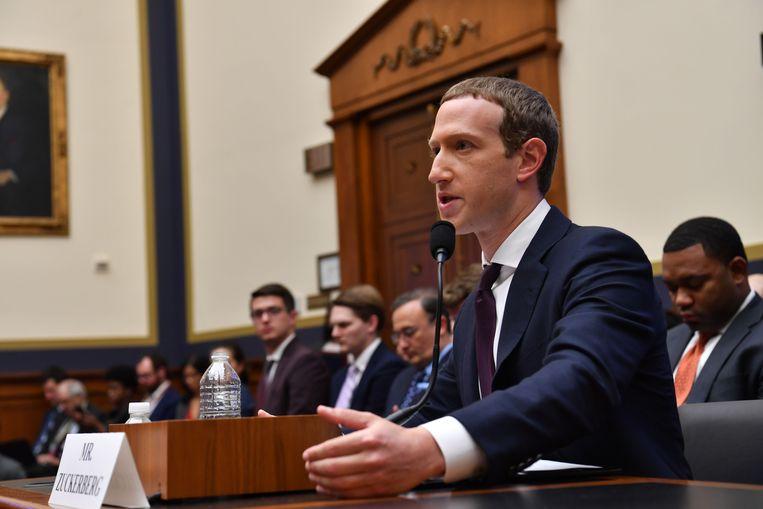 Mark Zuckerberg tijdens een hoorzitting in 2019. Beeld AFP