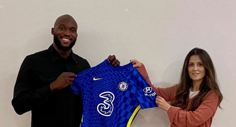 Romelu Lukaku en Chelsea-CEO Marina Granovskaia Beeld Chelsea