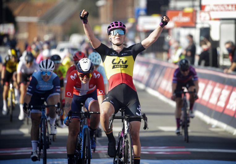 Lotte Kopecky wint Le Samyn. Beeld Photo News