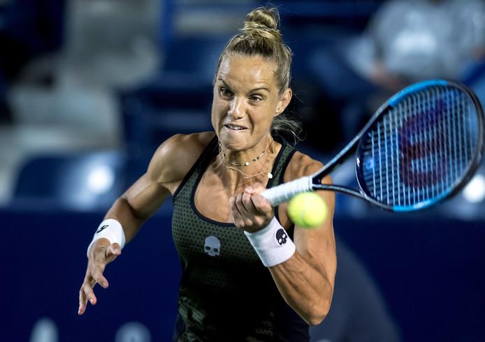Arantxa Rus in haar partij tegen de Zweedse Rebecca Peterson in de kwartfinale van de Monterrey Open.
