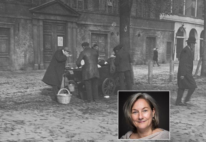 Karen Groeneveld schreef het 'Kookboek van Rotterdam' met veel nostalgische recepten én verhalen over de stad. Op de grote foto werden, begin vorige eeuw, op een kar mosselen verkocht.
