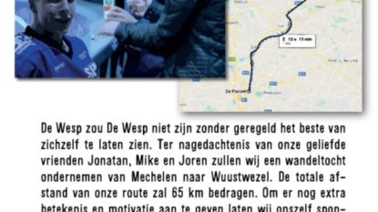 Studentenvereniging De Wesp wandelt van Mechelen naar Wuustwezel om verongelukte vrienden Mike, Joren en Jonatan te herdenken