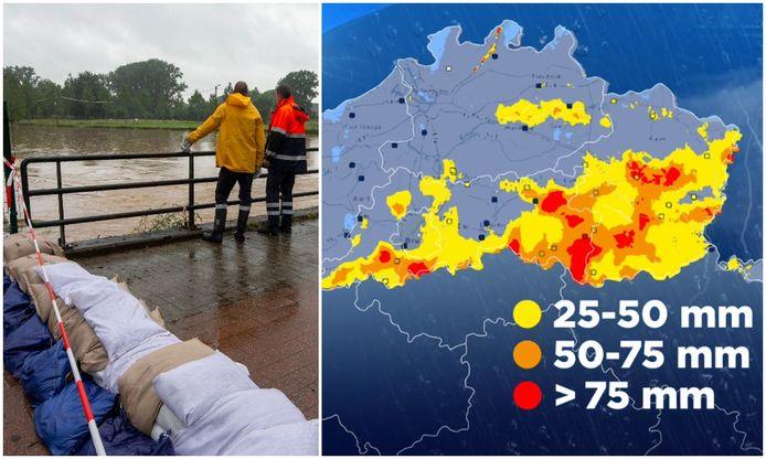 De onweders bleven geblokkeerd hangen boven het getroffen gebied, met véél regen tot gevolg.