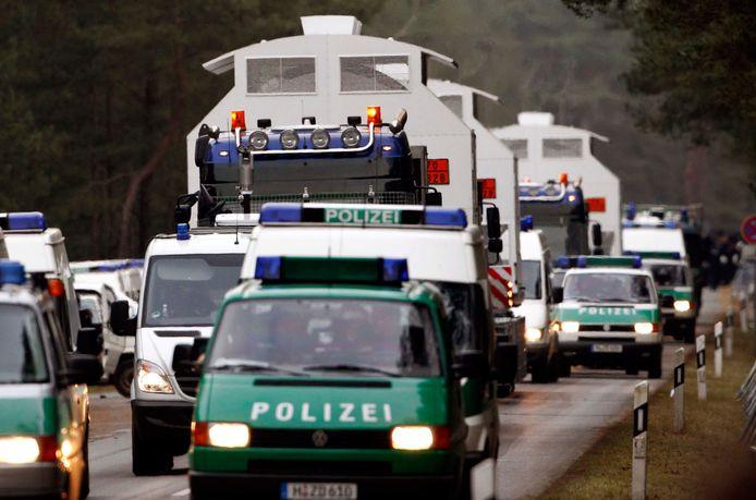 Transport van kernafval naar de opslag in Gorleben.