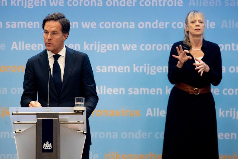 Premier Mark Rutte tijdens de corona persconferentie over de nieuwe coronamaatregelen en verlengde lockdown.  Beeld BSR Agency