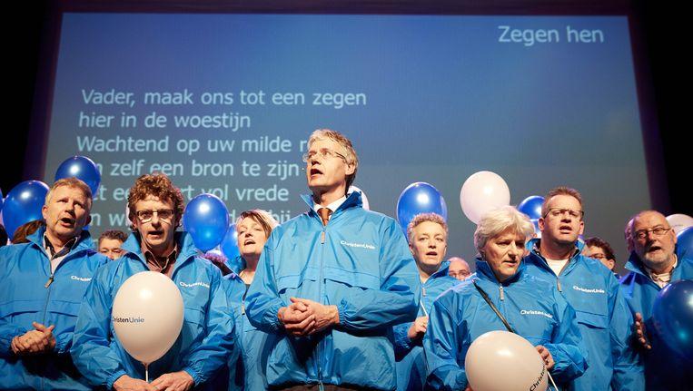 Tweede Kamer-fractievoorzitter Arie Slob (m), in februari tijdens het partijcongres van de ChristenUnie in Lelystad. Beeld anp