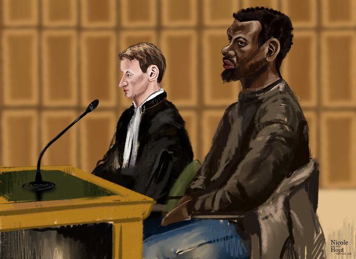 Rechtbanktekening van Ayoub A. in de rechtbank Oost-Brabant. .
