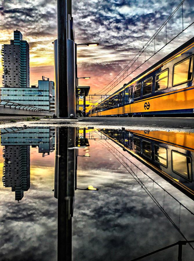 Uitzicht vanaf het perron station Tilburg.