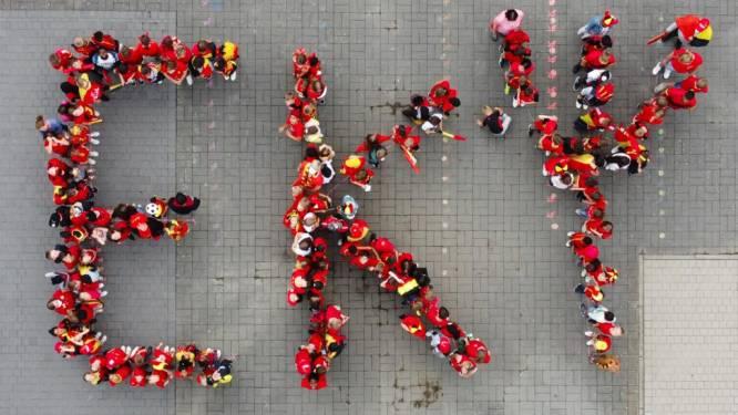 Leerlingen Basisschool Momentum moedigen Rode Duivels aan