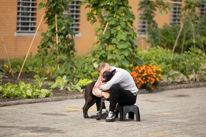 Gedetineerden blijken na afloop van de Dutch Cell Dogs training vaak verantwoordelijker en socialer. Deze foto is gemaakt in de PI Zwolle.
