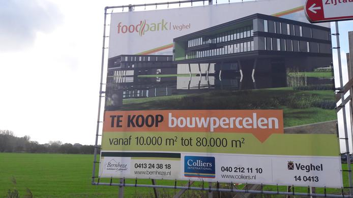 Een verkoopbord van Foodpark, destijds bij de start van fase I. Dit stuk is nu volgebouwd.