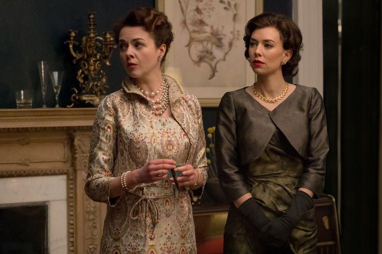 Prinses Margaret (rechts) in 'The Crown'. Beeld Alex Bailey / Netflix