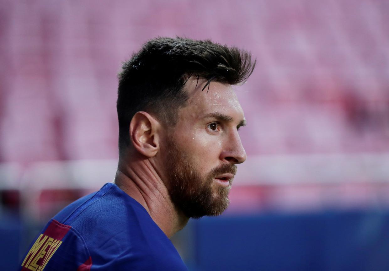Lionel Messi tuurt voor zich uit na de 8-2-afstraffing tegen Bayern München in de Champions League deze maand. Was dit zijn laatste match voor FC Barcelona? Beeld REUTERS