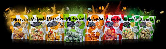 Het volledige assortiment van de Mitsuba snacks.