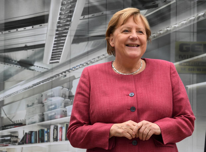 Angela Merkel tijdens een bezoek aan het Max Planck Instituut in het zuiden van Duitsland.