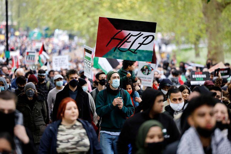 De grootste pro-Palestijnse betoging werd gehouden in Londen. Beeld AFP