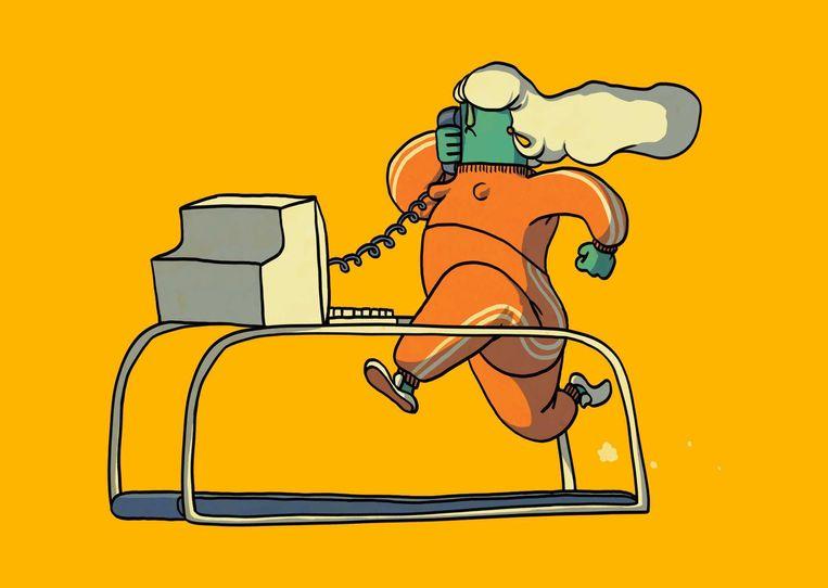 Voor veel werknemers  zorgt het thuiswerken ervoor dat genoeg bewegen een uitdaging wordt. Bedrijven organiseren daarom online-work-outs Beeld Matteo Bal