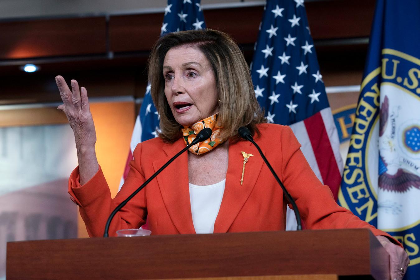 Nancy Pelosi, de Democratische voorzitter van het Amerikaanse Huis van Afgevaardigden, donderdag op een persconferentie in Washington.