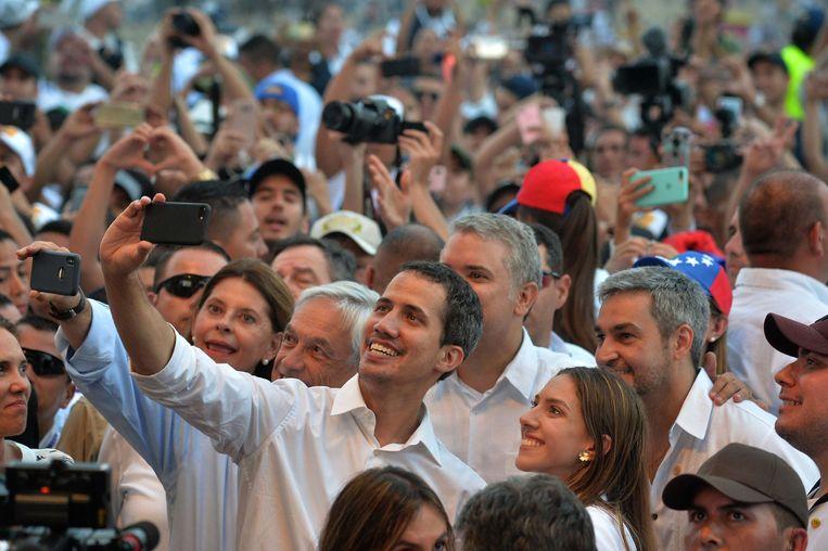 Juan Guaido tijdens het 'Venezuela Aid Live' concert. Beeld AFP