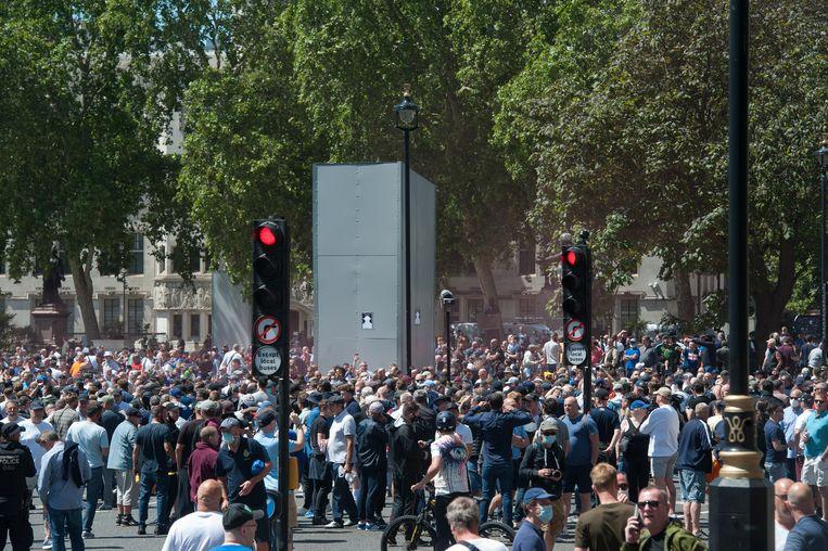 Protestgroepen tijdens een demonstratie tegen racisme in Londen in juni vorig jaar.  Beeld Getty Images