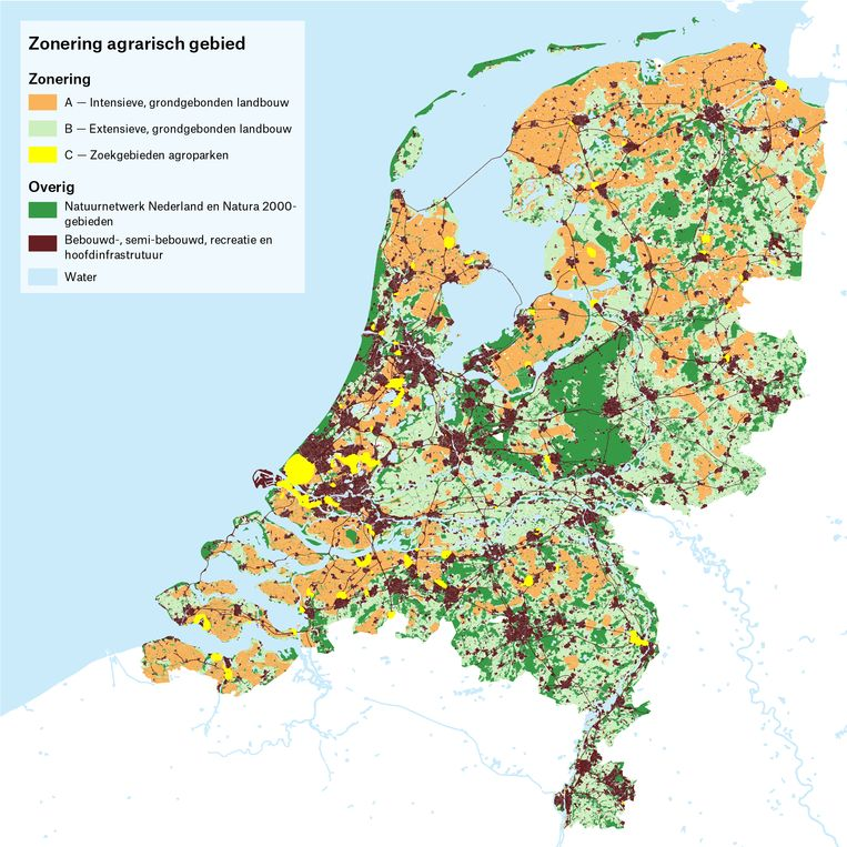 Zoning of the Netherlands in different agricultural areas.  Image of the Delta Metropolis Association, based on analysis Martha Bakker and colleagues.