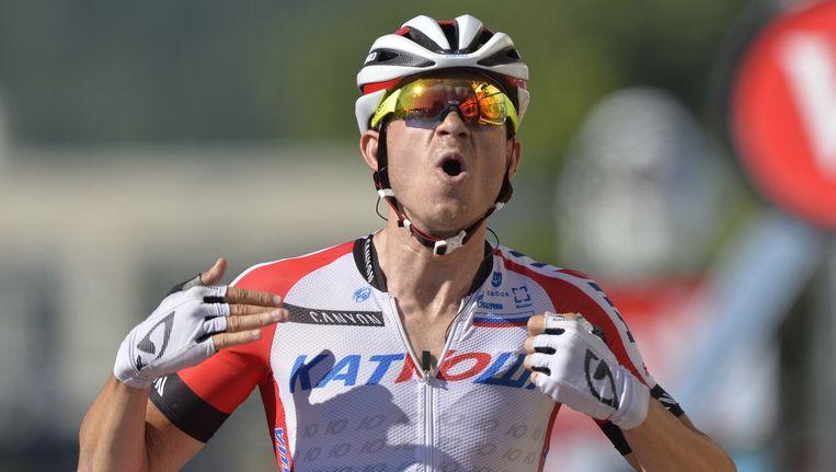 De Noor Alexander Kristoff (Katusha) was in Lille en Reims al close en dus was de derde keer nu de goede keer. Beeld BELGA