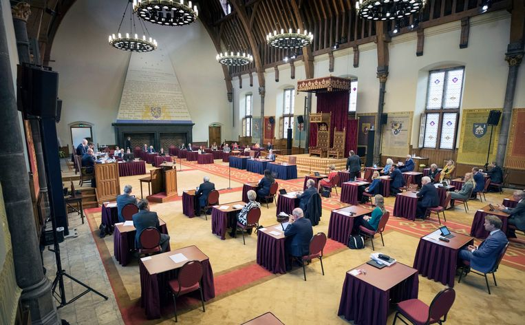De Eerste Kamer vergaderde vandaag vanwege de coronamaatregelen in de Ridderzaal. De hoorzitting over Ceta was overigens wel in de plenaire zaal van de senaat. Beeld Werry Crone