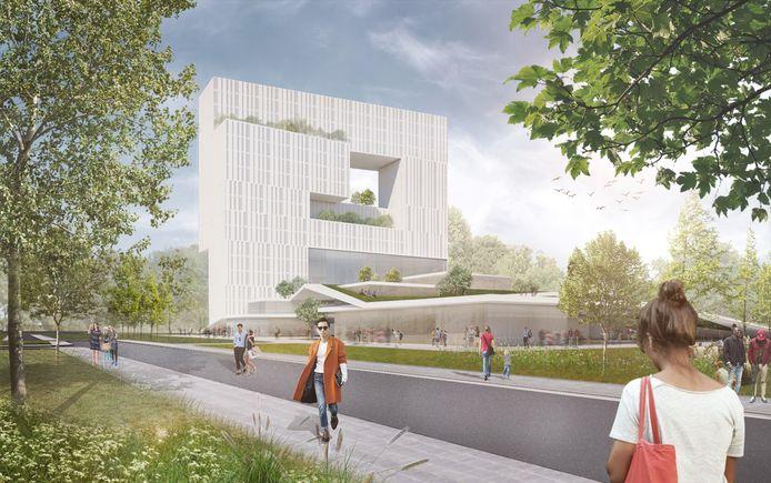 Een eerste ontwerp van het gebouw voor wonen, werken en leren dat Hurks Vastgoed BV wil gaan bouwen op de TU/e Campus, op de plek van de sportvelden aan de Kennedylaan in Eindhoven.
