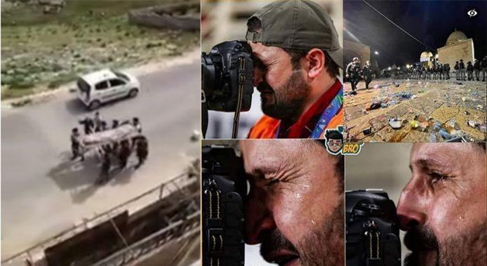 Links: screenshot uit een video van een valse begrafenis, zogezegd gemaakt en verspreid door Palestijnen, maar eigenlijk vorig jaar gemaakt tijdens een lockdown in Jordanië. Rechts: Volgens een Islamitische geestelijke barste deze fotograaf in tranen uit bij de gevechten tussen Palestijnse demonstranten en de Israëlische politie aan de al Aqsa moskee. In werkelijkheid gaat het om een foto gemaakt in 2019 tijdens het Asian Cup voetbaltornooi.