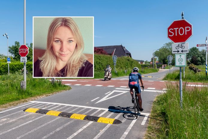 De kruising Rijkerswoerdsestraat en het RijnWaalpad (de snelfietsroute tussen Arnhem en Nijmegen) waar Deborah (inzet) werd aangereden.