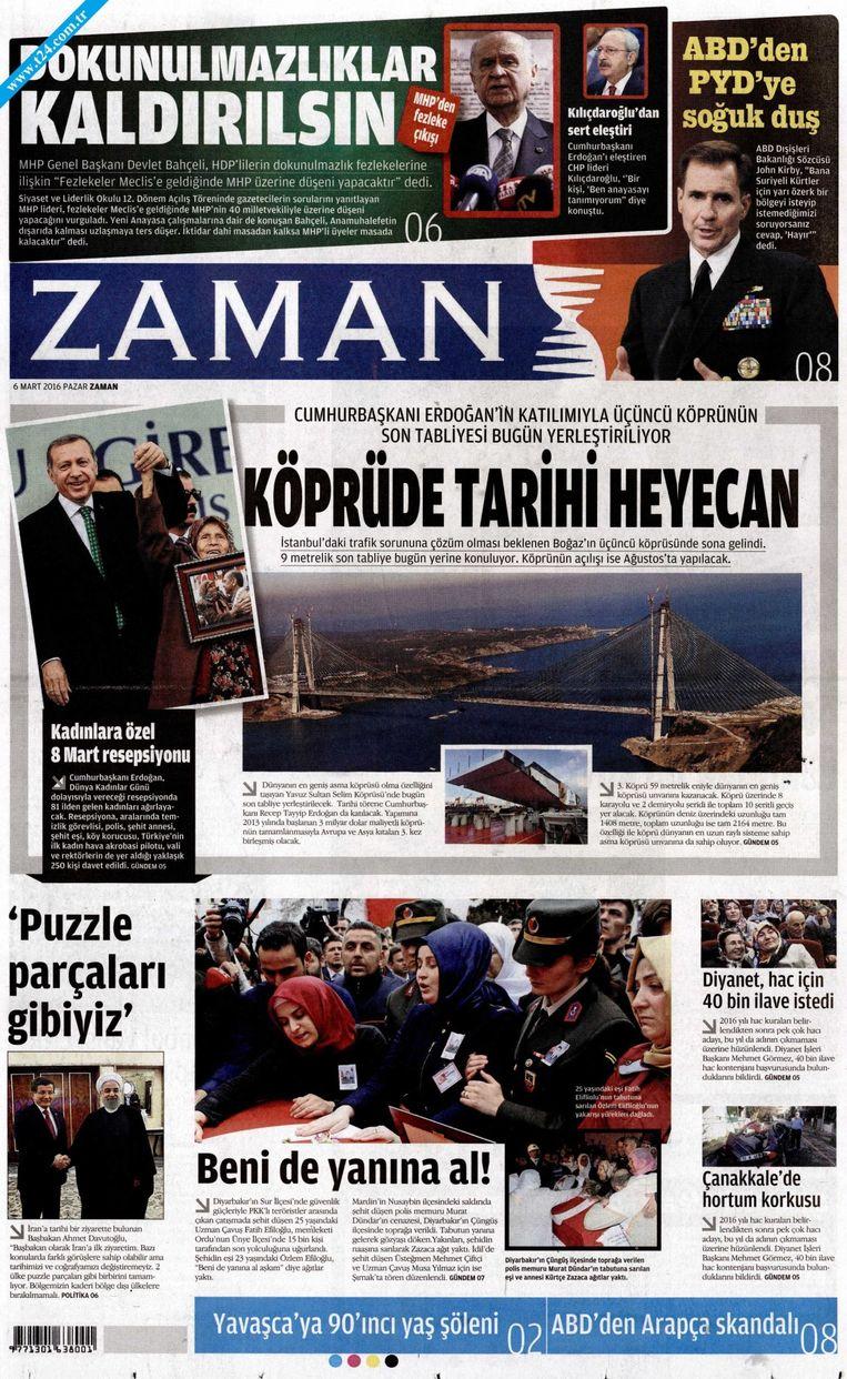 De voorpagina van de eens regeringskritische krant Zaman, nu met president Erdogan op de cover. Beeld rv