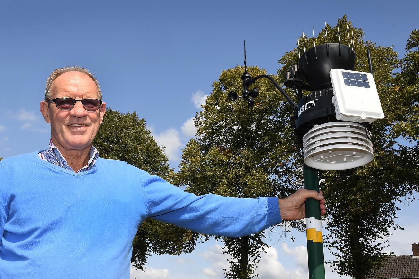 Regionaal weerdeskundige Bert Vloet bij een van zijn weerstations.
