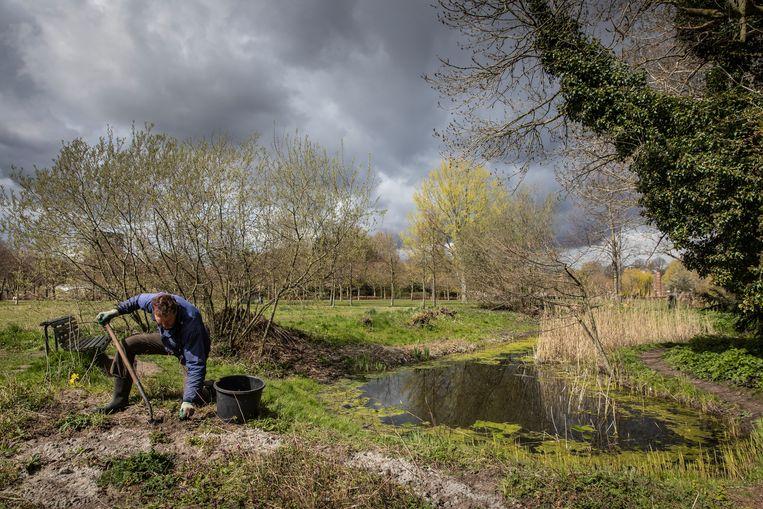 Chris Barendse is tuinman in de heemtuin van Huize Frankendael. Hij werkt al 20 jaar in de tuin en heeft de tuin gemaakt tot wat het nu is. Beeld Dingena Mol