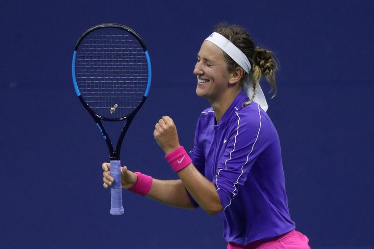 Victoria Azarenka viert een matchpoint. Beeld AFP