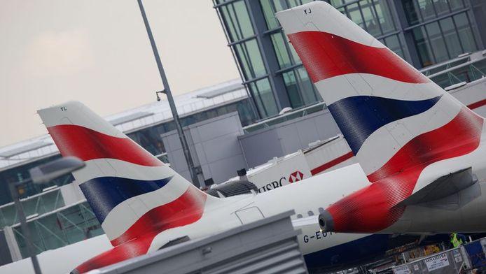 Toestellen van British Airways op de Londense luchthaven Heathrow.