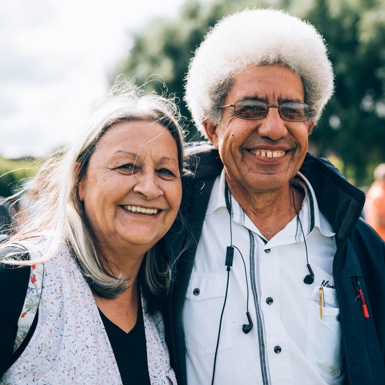 Cristina Cámera (72) en Ruben Suriel (66). Beeld Rebecca Fertinel